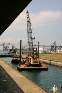 Barge in the Soo locks