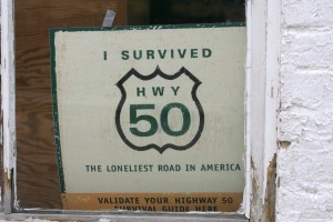 Highway 50 sign in General store