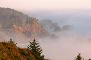Samuel H. Boardman State Park - Fog covers the Oregon coast at sunset.