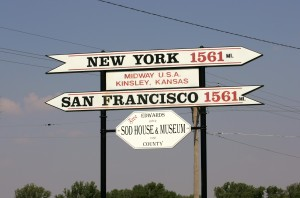 Midway USA marker, equal distance to San Francisco and New York.