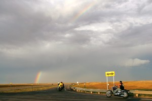 Bikers at the entrance to I-90, exit 78